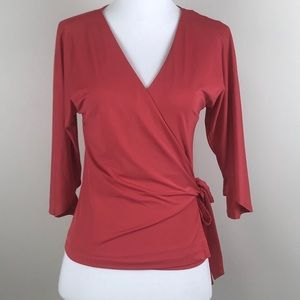 Bebe wrap tie top size XS dark pink $69 NWT
